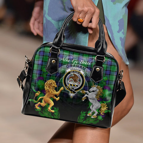 Graham of Menteith Modern Crest Tartan Lion Unicorn Thistle Shoulder Handbag A30