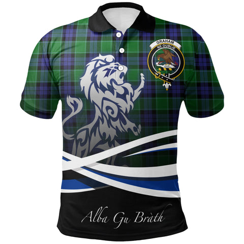 Graham of Menteith Modern Polo Shirts Tartan Crest Scotland Lion A30