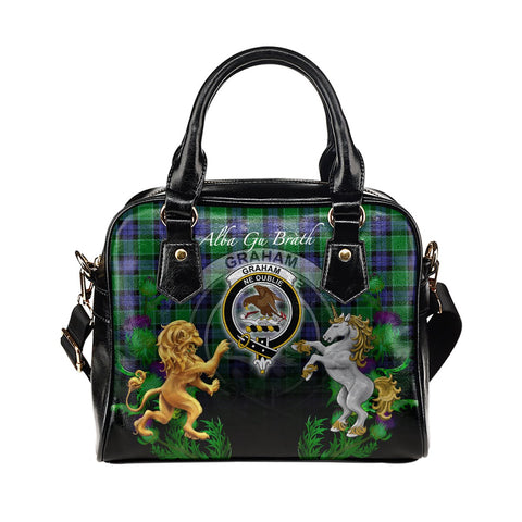 Graham of Menteith Modern Crest Tartan Lion Unicorn Thistle Shoulder Handbag
