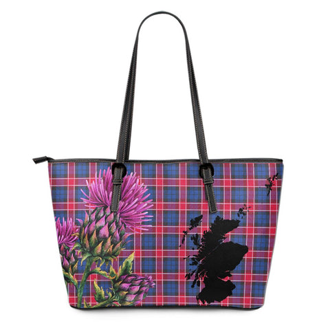 Graham of Menteith Red Tartan Leather Tote Bag Thistle Scotland Maps A91