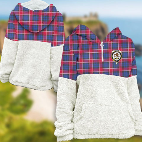 Graham of Menteith Red Tartan Clan Flannel Hoodie Women A91