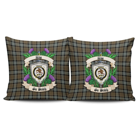 Graham of Menteith Weathered Crest Tartan Pillow Cover Thistle (Set of two) A91 | Home Set
