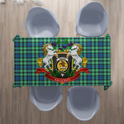 Image of Graham of Montrose Ancient Crest Tartan Tablecloth Unicorn Thistle | Home Decor