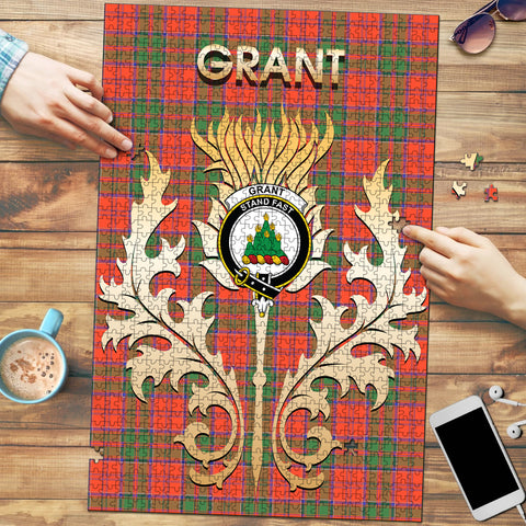 Grant Ancient Clan Name Crest Tartan Thistle Scotland Jigsaw Puzzle