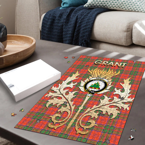 Image of Grant Ancient Clan Name Crest Tartan Thistle Scotland Jigsaw Puzzle