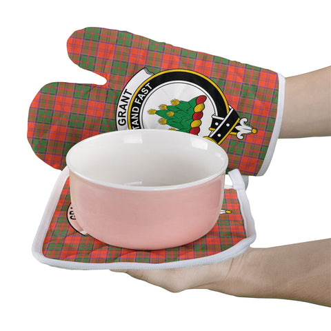 Image of Grant Ancient Clan Crest Tartan Scotland Oven Mitt And Pot-Holder (Set Of Two)