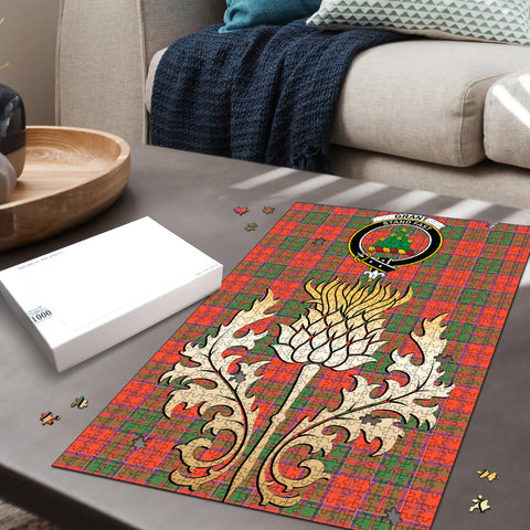 Image of Grant Ancient Clan Crest Tartan Thistle Gold Jigsaw Puzzle