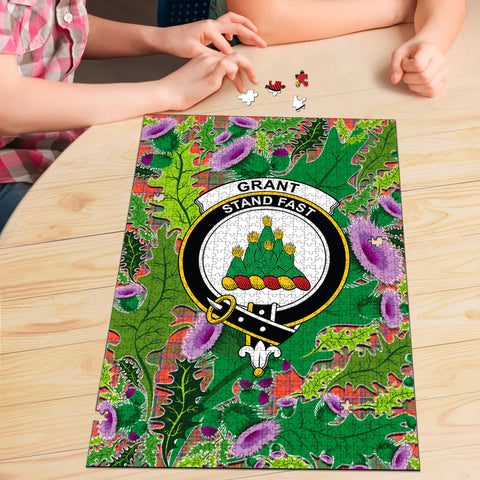 Grant Ancient Clan Crest Tartan Thistle Pattern Scotland Jigsaw Puzzle
