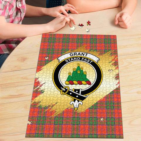 Image of Grant Ancient Clan Crest Tartan Jigsaw Puzzle Gold