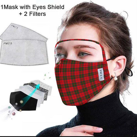 Grant Modern Tartan Face Mask With Eyes Shield - Red  Plaid Mask TH8