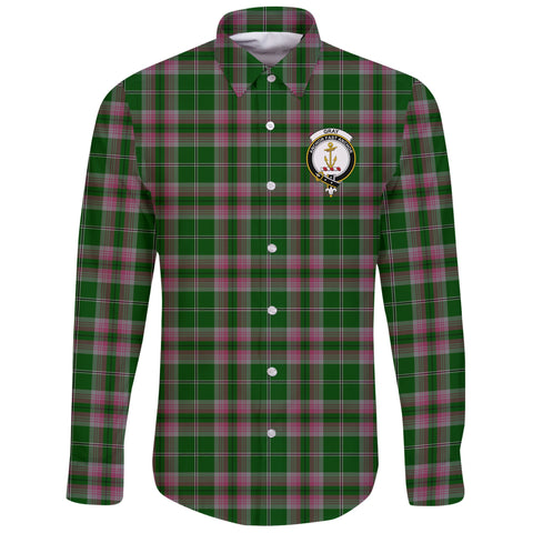 Image of Gray Tartan Clan Long Sleeve Button Shirt | Scottish Clan