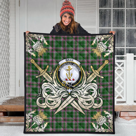 Gray Hunting Clan Crest Tartan Scotland Thistle Symbol Gold Royal Premium Quilt