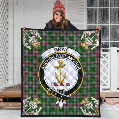 Image of Gray Hunting Clan Crest Tartan Scotland Thistle Gold Pattern Premium Quilt