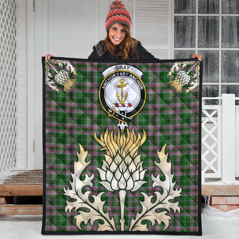 Gray Hunting Clan Crest Tartan Scotland Thistle Gold Royal Premium Quilt