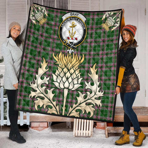 Gray Hunting Clan Crest Tartan Scotland Thistle Gold Royal Premium Quilt K9