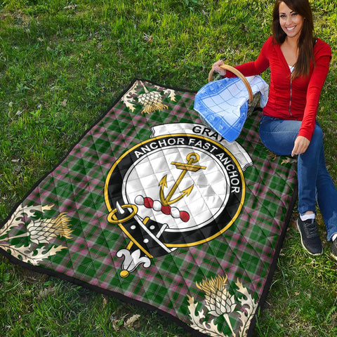 Image of Gray Hunting Clan Crest Tartan Scotland Thistle Gold Pattern Premium Quilt K9