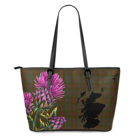 Gray Hunting Tartan Leather Tote Bag Thistle Scotland Maps A91