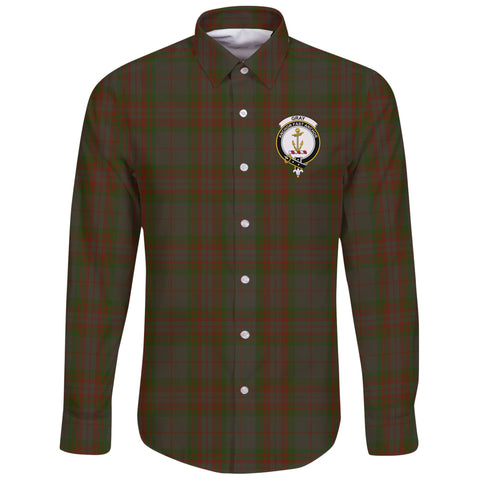 Image of Gray Hunting Tartan Clan Long Sleeve Button Shirt | Scottish Clan