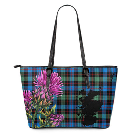 Guthrie Ancient Tartan Leather Tote Bag Thistle Scotland Maps A91