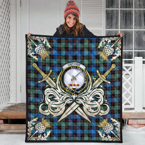 Image of Guthrie Ancient Clan Crest Tartan Scotland Thistle Symbol Gold Royal Premium Quilt