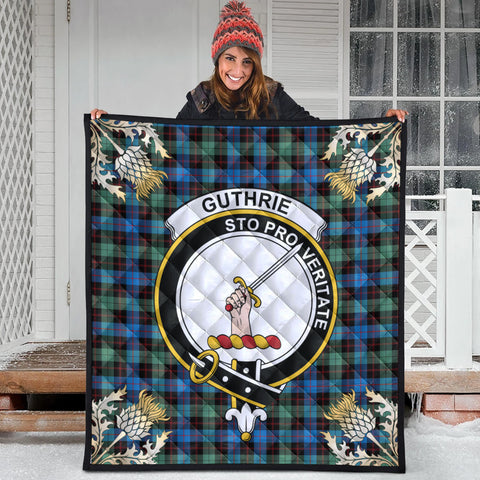 Guthrie Ancient Clan Crest Tartan Scotland Thistle Gold Pattern Premium Quilt