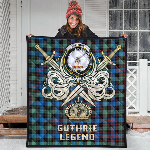 Guthrie Ancient Clan Crest Tartan Scotland Clan Legend Gold Royal Premium Quilt
