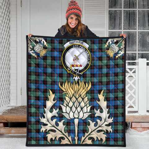 Image of Guthrie Ancient Clan Crest Tartan Scotland Thistle Gold Royal Premium Quilt