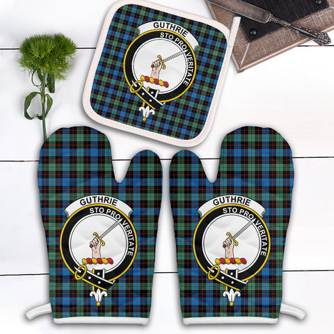Guthrie Ancient Clan Crest Tartan Scotland Oven Mitt And Pot-Holder (Set Of Two)