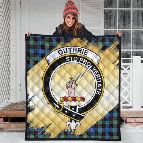 Guthrie Ancient Clan Crest Tartan Scotland Gold Royal Premium Quilt