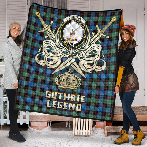 Image of Guthrie Ancient Clan Crest Tartan Scotland Clan Legend Gold Royal Premium Quilt K9