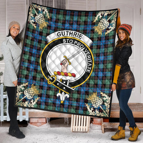 Guthrie Ancient Clan Crest Tartan Scotland Thistle Gold Pattern Premium Quilt K9