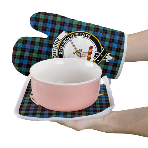 Image of Guthrie Ancient Clan Crest Tartan Scotland Oven Mitt And Pot-Holder (Set Of Two)