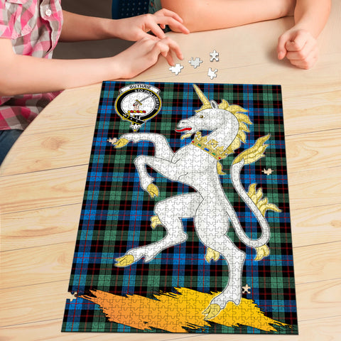 Guthrie Ancient Clan Crest Tartan Unicorn Scotland Jigsaw Puzzle