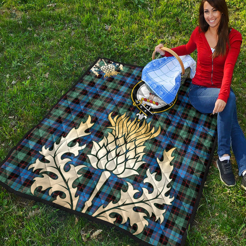 Image of Guthrie Ancient Clan Crest Tartan Scotland Thistle Gold Royal Premium Quilt K9