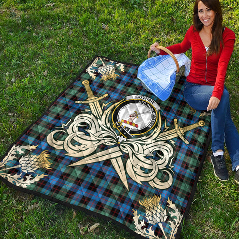 Guthrie Ancient Clan Crest Tartan Scotland Thistle Symbol Gold Royal Premium Quilt K9