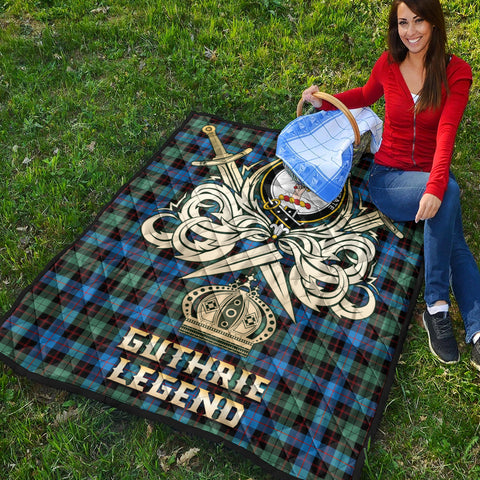 Guthrie Ancient Clan Crest Tartan Scotland Clan Legend Gold Royal Premium Quilt K9