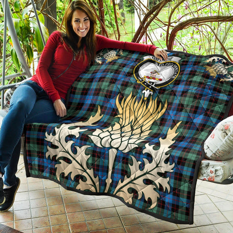 Guthrie Ancient Clan Crest Tartan Scotland Thistle Gold Royal Premium Quilt K9