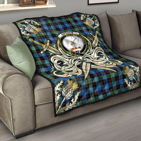 Image of Guthrie Ancient Clan Crest Tartan Scotland Thistle Symbol Gold Royal Premium Quilt K9