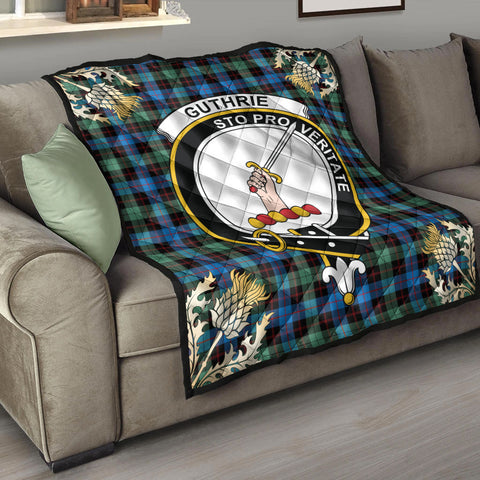 Image of Guthrie Ancient Clan Crest Tartan Scotland Thistle Gold Pattern Premium Quilt K9