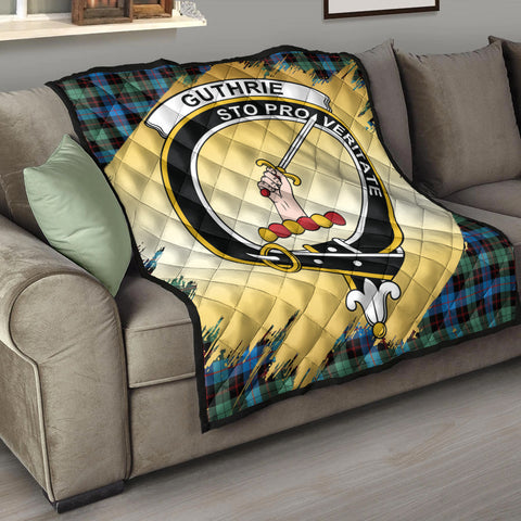 Image of Guthrie Ancient Clan Crest Tartan Scotland Gold Royal Premium Quilt K9