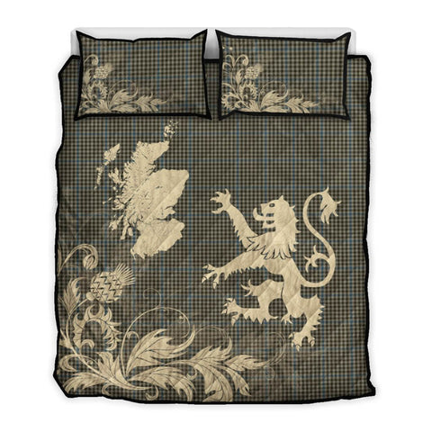 Image of Haig Check Tartan Scotland Lion Thistle Map Quilt Bed Set Hj4