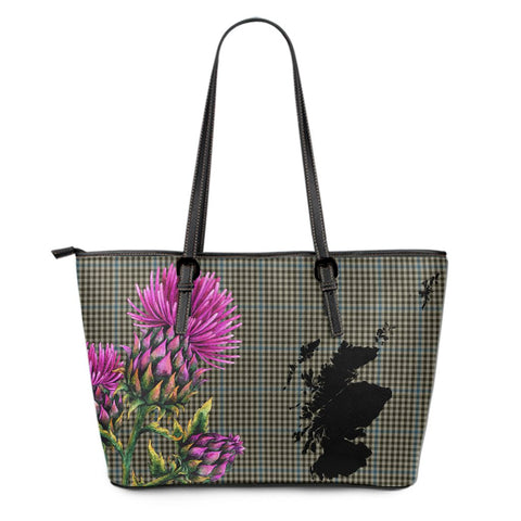 Haig Check Tartan Leather Tote Bag Thistle Scotland Maps A91