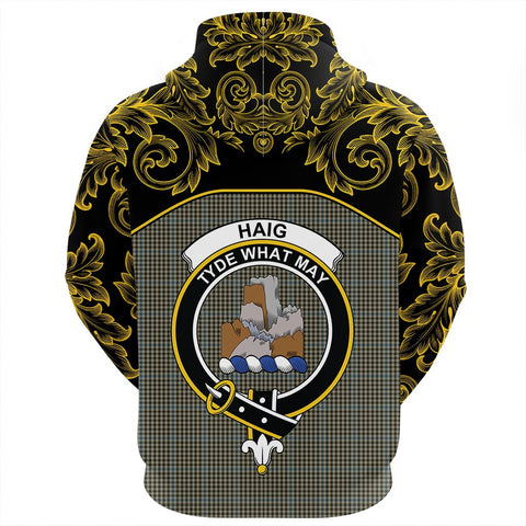 Haig Check Tartan Clan Crest Zip Hoodie - Empire I - HJT4