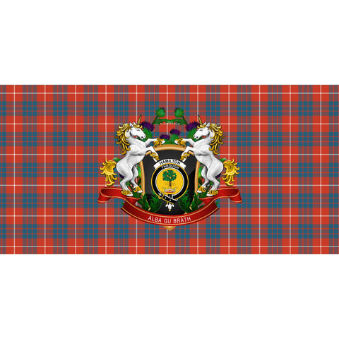 Image of Hamilton Ancient Crest Tartan Tablecloth Unicorn Thistle A30