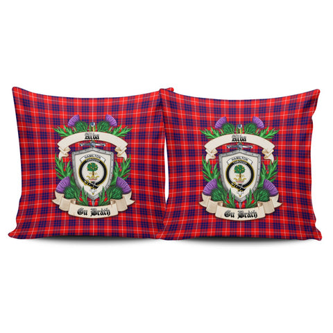 Hamilton Modern Crest Tartan Pillow Cover Thistle (Set of two) A91 | Home Set