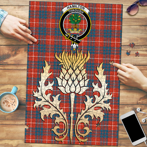 Image of Hamilton Ancient Clan Crest Tartan Thistle Gold Jigsaw Puzzle