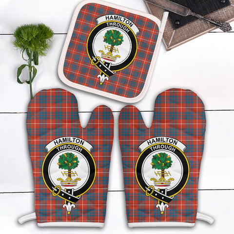 Hamilton Ancient Clan Crest Tartan Scotland Oven Mitt And Pot-Holder (Set Of Two)