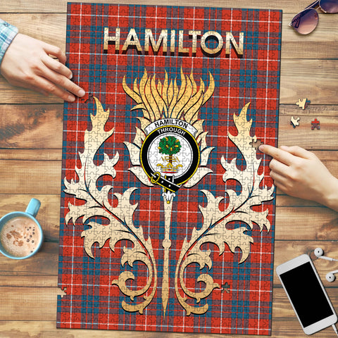 Image of Hamilton Ancient Clan Name Crest Tartan Thistle Scotland Jigsaw Puzzle