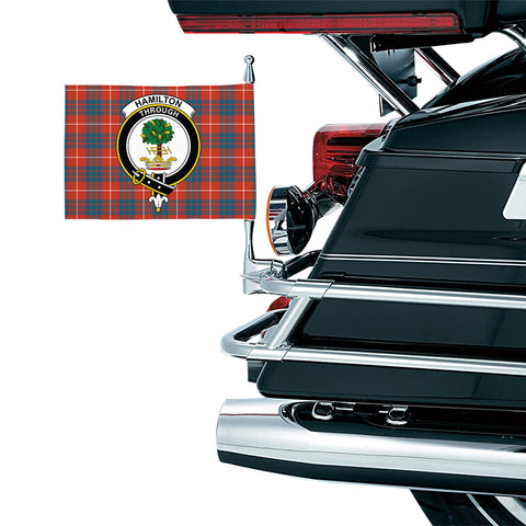 Image of Hamilton Ancient Clan Crest Tartan Motorcycle Flag