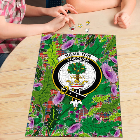 Image of Hamilton Ancient Clan Crest Tartan Thistle Pattern Scotland Jigsaw Puzzle